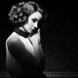 Beautiful woman black and white vintage image Royalty Free Stock Image