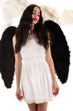 Beautiful woman with black wings Royalty Free Stock Photo