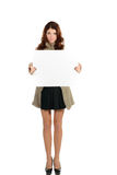Beautiful woman with blank ad banner Stock Photography