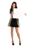 Beautiful woman with blank ad banner Stock Photo