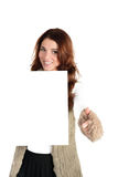 Beautiful woman with blank ad banner Royalty Free Stock Photography