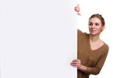 Beautiful woman with a blank banner Royalty Free Stock Photo
