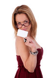 Beautiful woman with blank business card in hand Royalty Free Stock Images