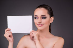 The beautiful woman with blank message paper Stock Image