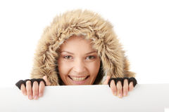 Beautiful woman and blank sign Stock Image