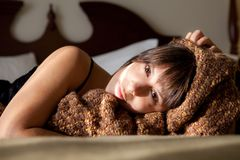 Beautiful Woman With Blanket Royalty Free Stock Photos