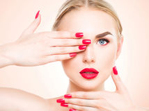 Beautiful woman with blond hair Stock Images