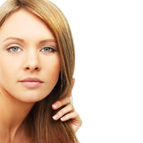 Beautiful woman, blond hair isolated Royalty Free Stock Image