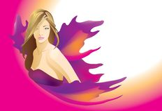 Beautiful woman blonde with purple wings. Vector stock illustration