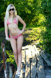 Beautiful woman the blonde in bikini Royalty Free Stock Photography
