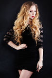 Beautiful Woman with Blonde Hair in Black Dress Royalty Free Stock Photos