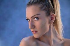 Beautiful woman blonde hair face close up Stock Image