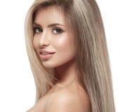 Beautiful woman blonde hair portrait close up studio on white Royalty Free Stock Photos