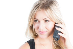 Beautiful woman with blondy hair talking on phone Royalty Free Stock Photography