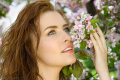 Beautiful woman in blossom orchard Royalty Free Stock Photography
