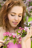 Beautiful woman in blossom orchard sunshine Royalty Free Stock Images