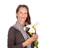 Beautiful woman with blossoming cala flowers Stock Photos
