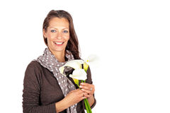 Beautiful woman with blossoming cala flowers royalty free stock photography
