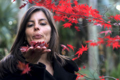 Beautiful woman blowing autumn red leaves Royalty Free Stock Image