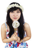 Beautiful woman blowing flower isolated Royalty Free Stock Photos