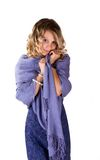 Beautiful woman in blue. Beautiful woman wearing blue dress and scarf Royalty Free Stock Images