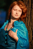 Beautiful woman in blue. Portrait of the beautiful woman in blue dress Royalty Free Stock Image