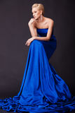Beautiful woman in blue Royalty Free Stock Image