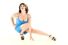 Beautiful Woman in a Blue Dress Stock Photo