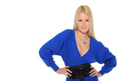 Beautiful woman in blue dress Royalty Free Stock Photography