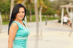 Beautiful woman in a blue dress Royalty Free Stock Images