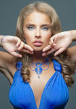 Beautiful woman with blue dress Royalty Free Stock Image