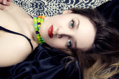Beautiful woman with blue eyes and red lips Royalty Free Stock Photos