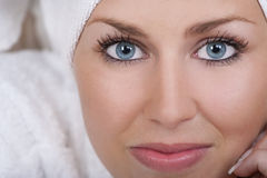 Beautiful Woman With Blue Eyes In White Towel Stock Photo