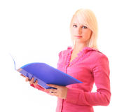 Beautiful woman with blue folder isolated Royalty Free Stock Photography