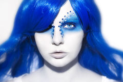 Beautiful woman with blue Hair and Make Up Royalty Free Stock Image