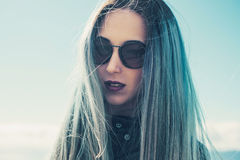 Beautiful woman with blue hair Royalty Free Stock Photography