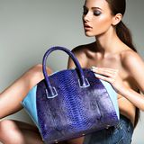 Beautiful woman with blue handbag. Stock Photography