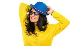 Beautiful woman with blue hat Royalty Free Stock Photo