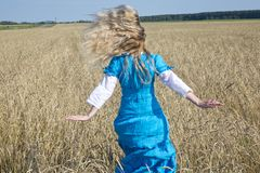 Beautiful woman in a blue long dress in the field of ripe cereals Royalty Free Stock Photos