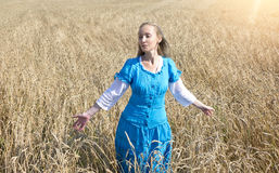 Beautiful woman in a blue long dress in the field of ripe ears of cereals Royalty Free Stock Photo
