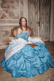 Beautiful woman in blue medieval dress Royalty Free Stock Photography