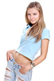 Beautiful woman in a blue T-shirt Royalty Free Stock Photos