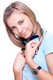 Beautiful woman in a blue T-shirt Royalty Free Stock Image