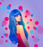 beautiful woman in  blue wig Stock Photo