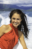 Beautiful woman on a boat Royalty Free Stock Photography