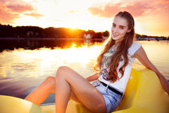 beautiful woman at the boat Royalty Free Stock Photo