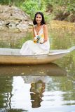 Beautiful woman in a boat Stock Photography