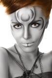 Beautiful woman body art closeup portrait stock image
