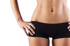 Beautiful woman body, in black cotton underwear Royalty Free Stock Photo