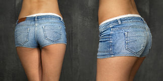 Beautiful woman body in denim jeans shorts Royalty Free Stock Photography